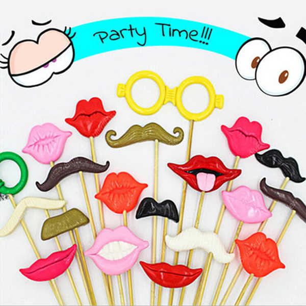 NICEXMAS Funny Wedding Photo Props on a Stick Mask Beard Mustache Hat Glasses Lips Photo Booth Posing Props for Party Decoration