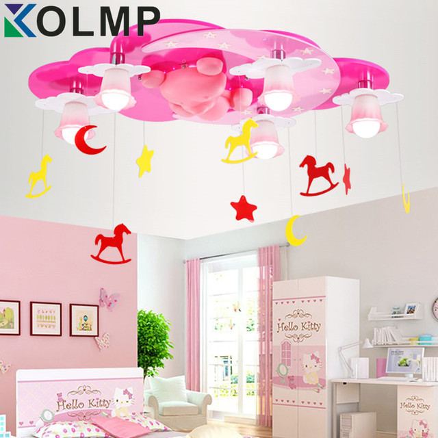 pink color kids Room Lighting boy cartoon warm girl bedroom ceiling ...