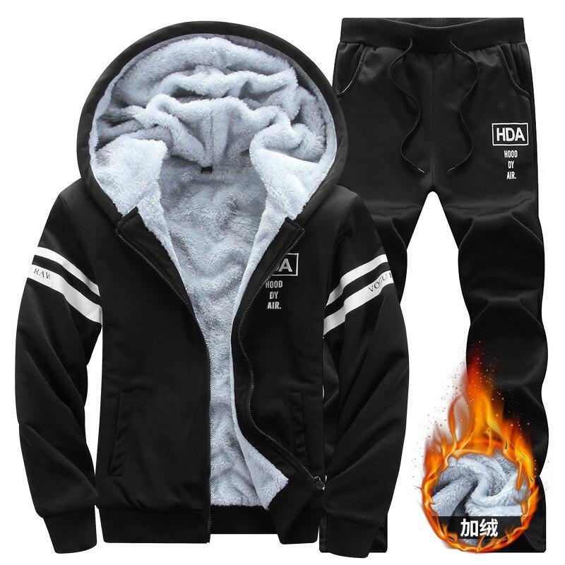 Hiver Plus velours chandail hommes à capuche sport épais chaud costume Zipper sweat-shirt pantalons de survêtement hommes vêtements ensembles Slim survêtement