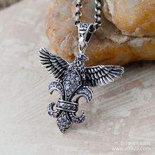 Black silver jewelry wholesale 925 sterling silver jewelry silver retro Crusader flower  Pendant 43751 Eagle
