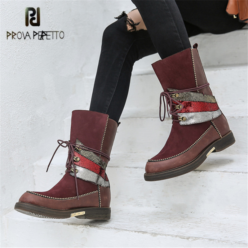 купить Prova Perfetto Women High Boots Handmade Flat Martin Boot Female Platform Rubber Shoes Woman Botas Mujer Chains Decor Bota по цене 7814.27 рублей