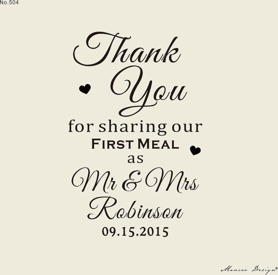 Personnalisé timbre pour mariage unique faveurs de mariage papeterie de mariage table décor merci pour partageons nos première repas timbre 2