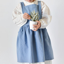 Gray Pink Blue Kids Long Cotton Linen Apron Home BBQ Baking Cook Painting Crafting Gardening Drawing Family Work Clothes D20