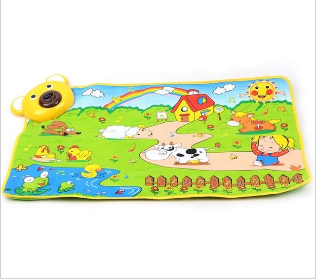Tapetes de jogo suporte de música na primeira infância puzzle game pad esteira do jogo para o presente do bebê fazenda estilo tapete 70*48 cm Frete Grátis