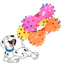 Popular Dumbbell Dog Toy Pet Supplies Silicone For Small Dogs Squeaky Molar Tooth Cleaning Products Random Color
