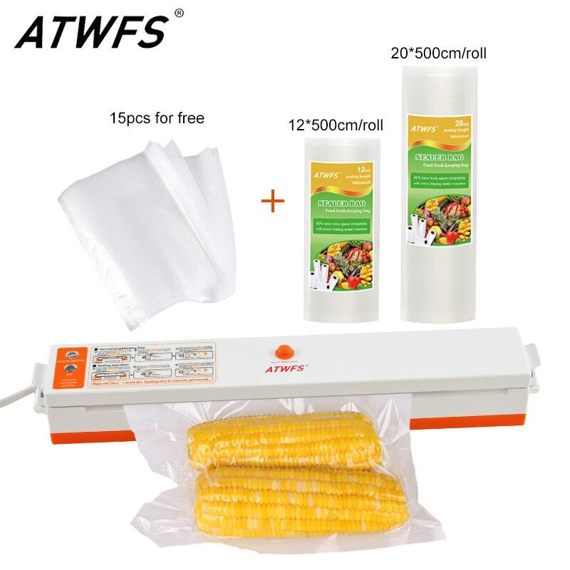 Vacuum Sealer Packer Sealing Machine sous vide with Vacuum Packaging Rolls 12*500cm+20*500cm and 15pcs Sealer Bags for Food