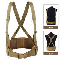 Tactical Belt Molle Waist Support with H-shaped Suspenders Adjustable Cummerbunds Combat Airsoft Military Hunting Waist Support
