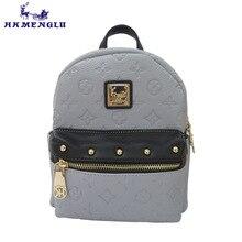 Hkmenglu Новинка 2017 PU женская сумка с тиснением на молнии с заклепками женская сумка с принтом Девушка Рюкзак 7