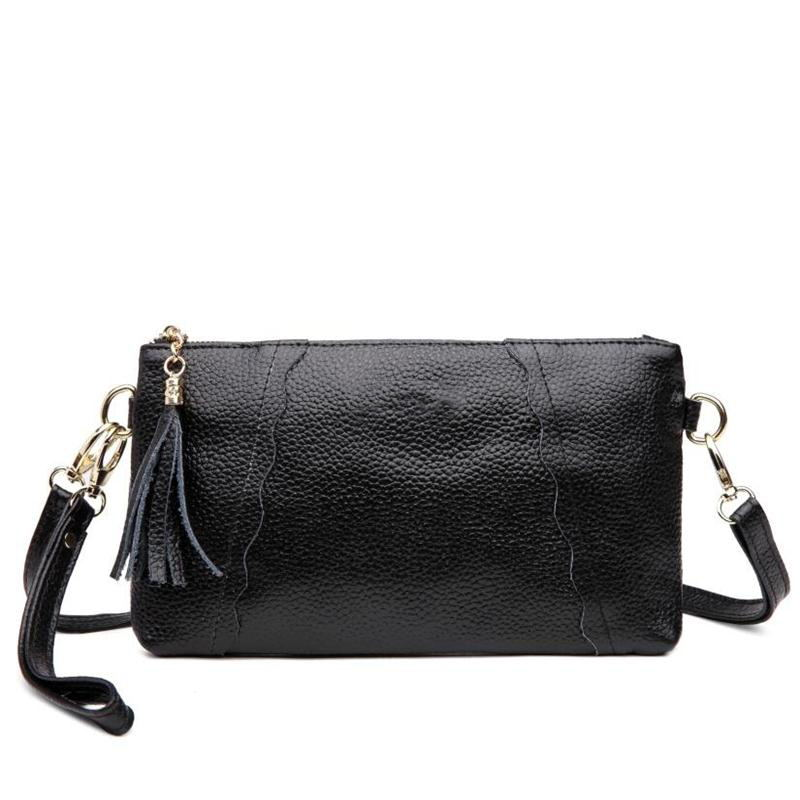 Luxury Brand Women Small Shoulder Bag Soft Leather TopHandle Bags Genuine Leather Ladies Tassel Messenger Bags Women's Clutch