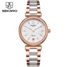 Sekaro Ladies Diamond pulksteņa kleita Sieviešu pulksteņi Luxury Ceramic Strap Watch Sieviešu rokas pulkstenis Relogio Feminino Montre Femme