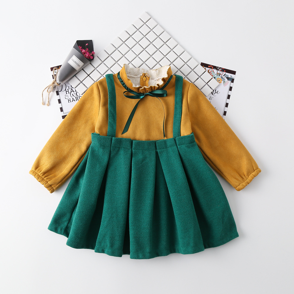 Girls winter princess dresses kids casual patchwork turtleneck long sleeve dress baby cute red green clothes children 1-6 years