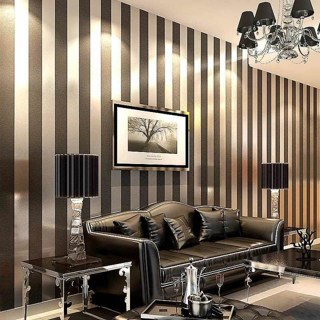 Purple Black And White Living Room: Modern Black Wallpaper Striped Purple And Silver Glitter