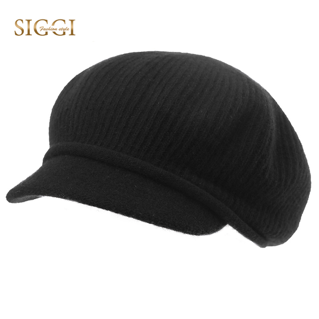 62dc1184589 SIGGI Wool Warm Berets Hats For Women Solid Elastic Soft Sweatband High  Quality Front Brim Skull Gorras Chapeu Female 89206