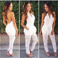 Jumpsuit Women V-Neck Backless Hollow Out  Jumpsuits Macacao Feminino 2016  Rompers Plus Size Casual Slim Long Jumpsuit Bodysuit