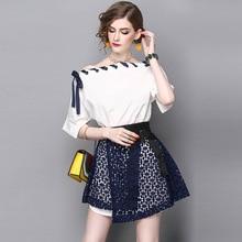 L G High Quality Fashion Cute Women 2 Pieces Drawstring Slash neck Tops + Lace Skirt Slim Girl Suit Set