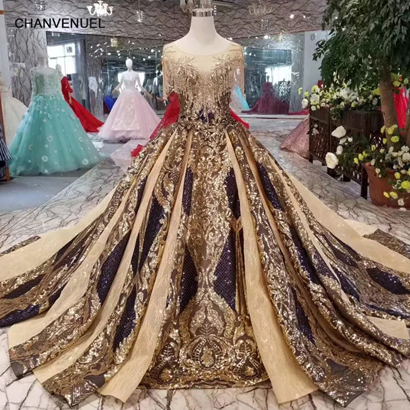 LS11080 luxury   evening     dresses   women occasion   dresses   o-neck crystal short sleeves party   dress   long golden lace dubai style 2019