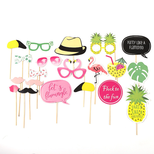 Flamingo Photobooth Props Tropical Photo Booth Unicorn Birthday Party Accessories Hens Gifts Supplies Hawaii