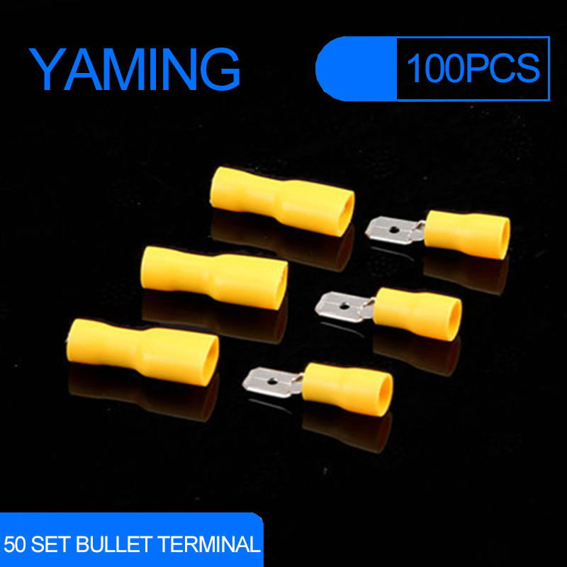 100pcs 50set Yellow FDFD5.5-250 Female Male Spade Insulated Electrical Crimp Terminal Connectors Wiring Cable Plug 100pieces 50set crimp male female spade cable terminals nylon flag right angle insulated fast quick wire connector terminator