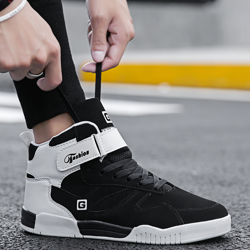 BVNOBET High Top Casual Shoes Men Leather Designer Shoes Men High Quality Skateboarding Shoes Leisure Sneakers Homme Chaussure