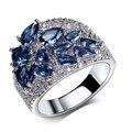 Moda Anéis rhodium com cubic zircon anéis de casamento para as mulheres Anel de dedo de cobre de alta qualidade remessa Livre
