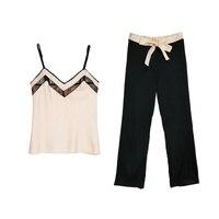 New Design Women Satin Pajama Set Camisole Long Pants Suit Fashion Lace V Neck Lingerie Set