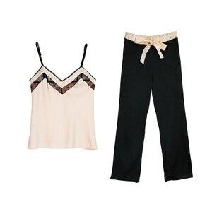 Image 1 - Yeni tasarım kadın saten Pijama takımı kaşkorse ve uzun pantolon takım elbise moda dantel v yaka iç çamaşırı seti eğlence ev tekstili lüks Pijama S