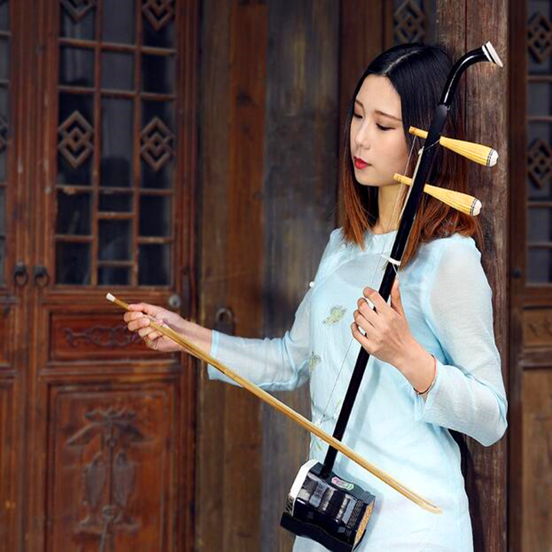 Chinese String Instrument Erhu Huqin Exclusive Engraved Code Chinese folk Erhu instruments with Rosin spare strings Bow and Book wuyue erhu chinese musical instrument 2 string erhu round pole hexagonal shape with bow