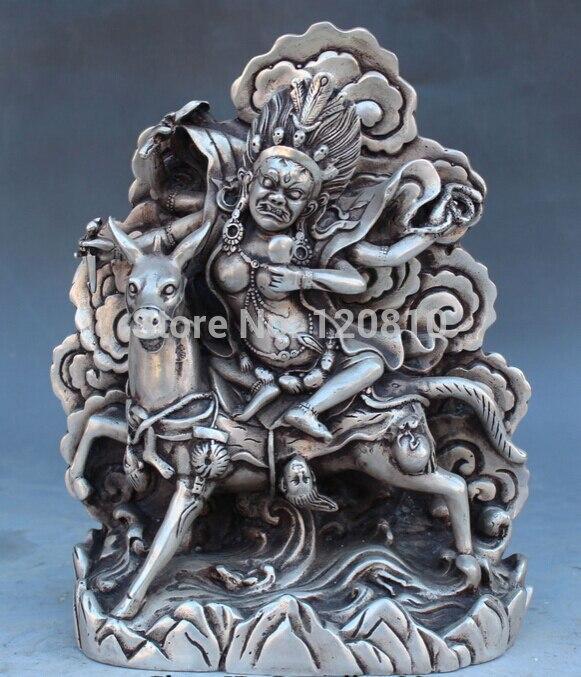 Livraison Gratuite zhaorui6600018 + + 8 Tibet Buddhis Bronze Argent Palden Lhamo Protection Divinité Tantra Statue de Bouddha