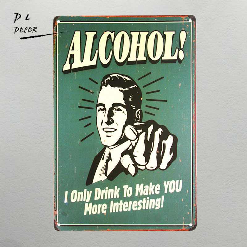 DL-ALCOHOL! I Only Drink to Make You Interesting Plate Chic Sign Home Bar Pub Cafe Restaurant Decor