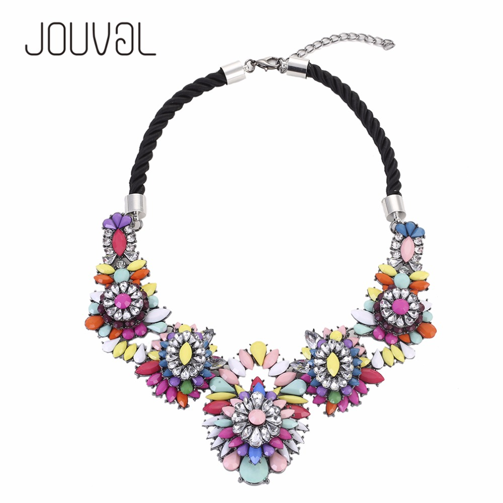 2017 Collar ZA Necklaces Pendants Vintage Flower Crystal Maxi Choker Statement Necklace Boho Collier Big Fashion