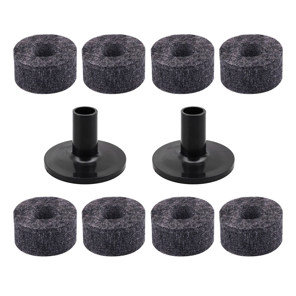 8 Pcs Drum Cymbal Pads Felts + 2 Pcs Cymbal Stand Sleeve for Drummer Kit Accessories