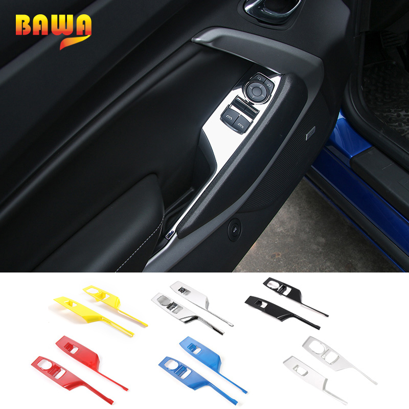 HANGUP ABS Car Window Lift Button Panel Decoration Cover Trims Interior Stickers For Chevrolet Camaro 2017
