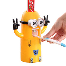 New Automatic Toothpaste Dispenser Minions Style Minecraft Toothbrush Holder Bathroom Household Set Toothpaste Dispenser