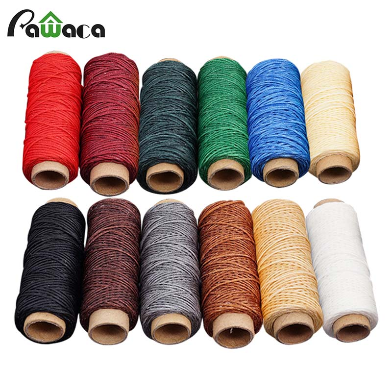 6/12 Colors 50 Meters Leather hand-sewn flat wax line Sewing Threads For Hand Sewing Thread Craft Patchwork Sewing Accessories