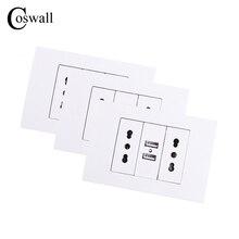 Coswall جدار مقبس الطاقة مزدوجة شيلي/الايطالية الكهربائية المخرج 1000mA المزدوج USB شاحن ميناء للجوال 118 مللي متر * 80 مللي متر 3 قطعة/الوحدة