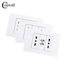 Coswall Tường Ổ Cắm Điện Đôi Chile/Ý Ổ Cắm Điện 1000mA Dual USB Cổng Sạc Cho Điện Thoại Di Động 118Mm * 80Mm 3 Cái/lốc