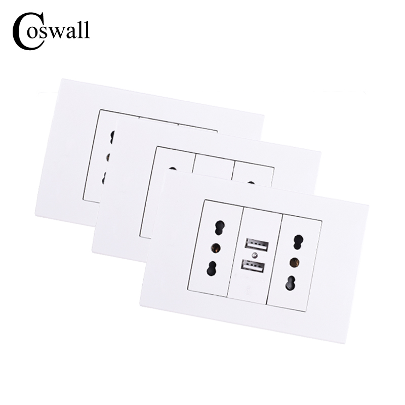 Coswall Wall Power Socket Double Chile / Italian Electrical Outlet 1000mA Dual USB Charger Port For Mobile 118mm*80mm 3 PCS/LOT