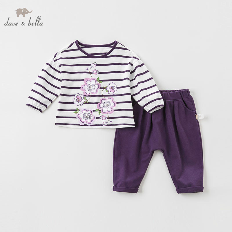 DBA8090 dave bella spring baby girls fashion floral print clothing sets kids long sleeve sets children 2 pcs suit
