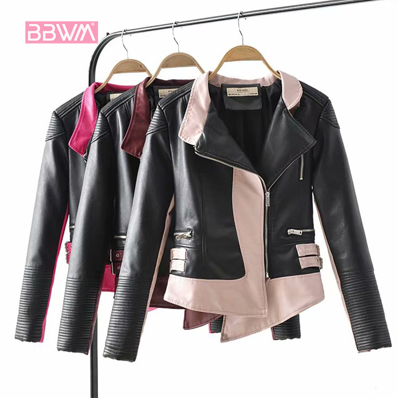 Elegant women s 2018 autumn and winter new wild self cultivation color matching irregular leather jacket