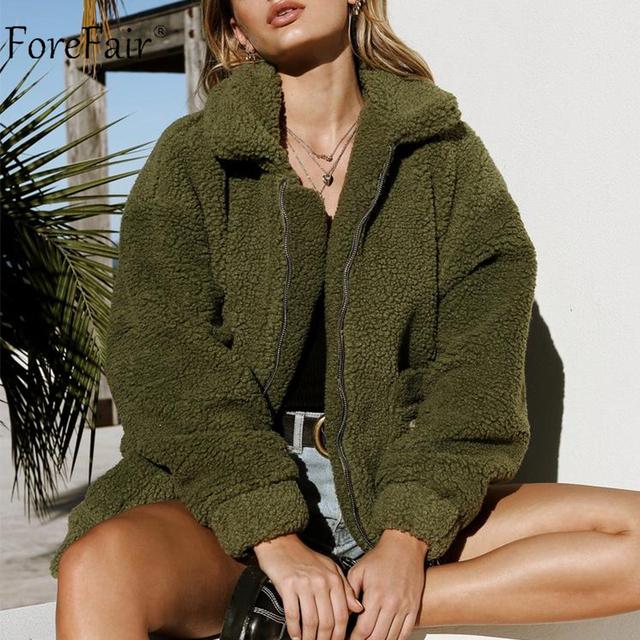 Forefair Winter Oversized Faux Fur Coat Women Natural Fur Teddy Bear Jacket Pockets Lapel Casual Loose Plus Size Overcoat