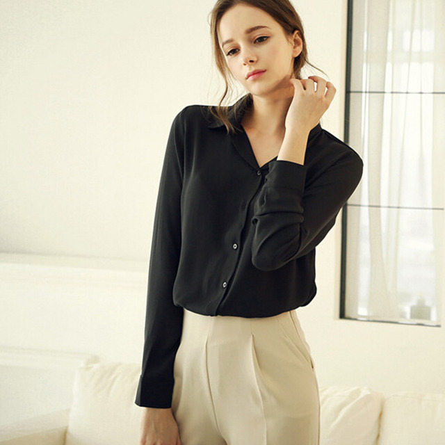 Women Blouses Direct Selling Button Solid 2016 Autumn New Long sleeve Shirt Female Chiffon Women s