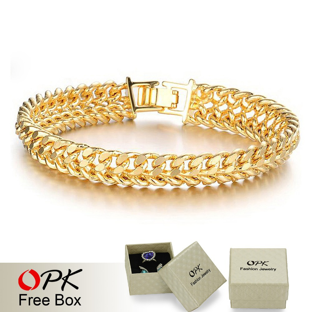 Opk Jewellery Whole Price 11mm Luxury Gold Color Chain Bracelets For Man Fashion Jewelry 158 In Link From Accessories On
