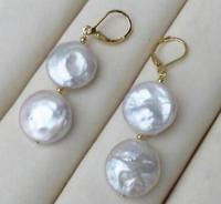 0832192b10aca Free shipping Large 13 14mm White Coin Pearl Baroque Earring
