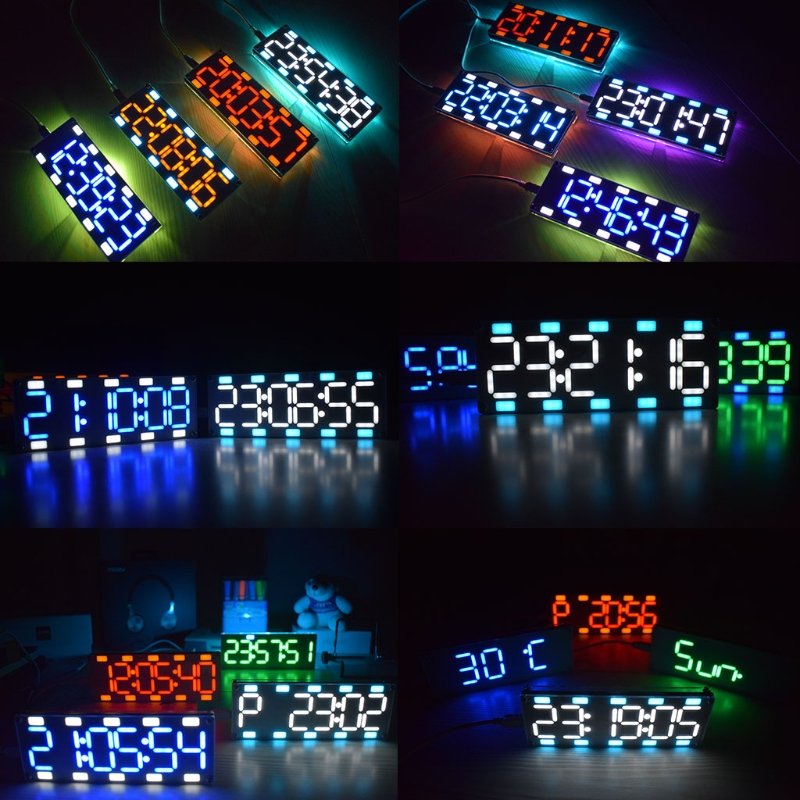 DIY Large Screen 6 Digit Two-Color LED Clock Kit Touch Control w Temp/Date/Week 3