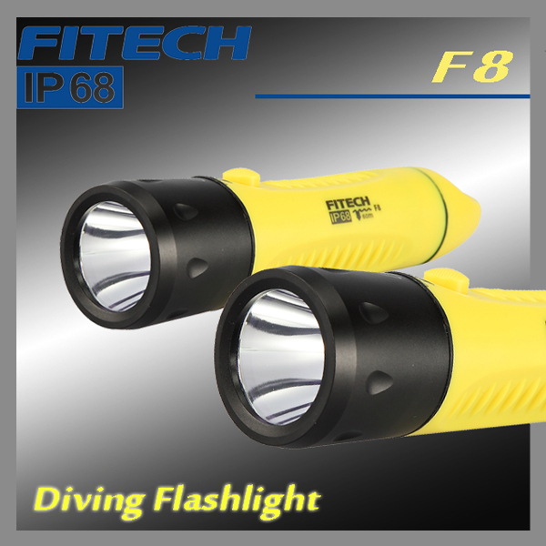 Ip68 Fitech Diving Led Flashlight Charging Battery 3x18650 1x5w