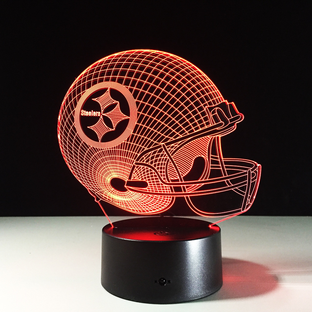 7 Colors Change 3D LED Night Light NFL Team Pittsburgh Steelers Football Helmet Touch Sensor USB Table Lamp Home Decor Kids Gift бутсы nike mercurial vortex iii neymar fg 921511 407