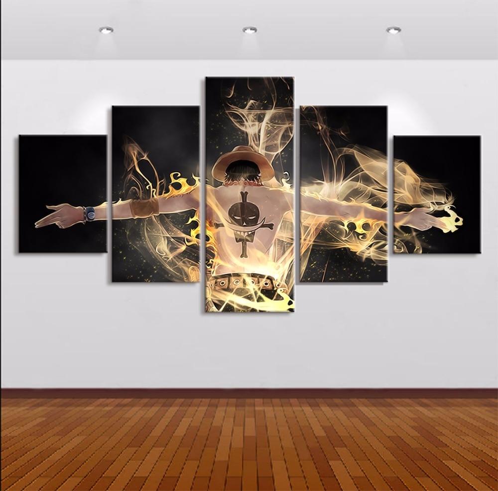 Стены Книги по искусству 5 Панель c Книги по искусству Ун огонь король воров характер пейзаж картина для Гостиная Home Decor Книги по искусству ра...