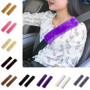 2pcs Soft Car Seatbelt Cover Sheepskin Seat Belt Pillow Pad Seat belt Safety Strap Cover Shoulder Pads For Bag Car Accessories