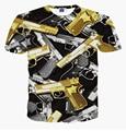 Новый шаблон печать пистолет майка мужчины женщины хип-хоп 3d майка полный напечатаны уличная футболка harajuku fahsion camisetas