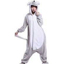 Volwassenen Flanel Kigurumi Animal Kostuum Grijs Rat Muizen Vrouwen of mannen Rompers Pajama voor Halloween Carnaval Party